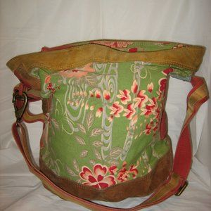 LUCKY BRAND Canvas/Suede Leather Floral Bucket Bag